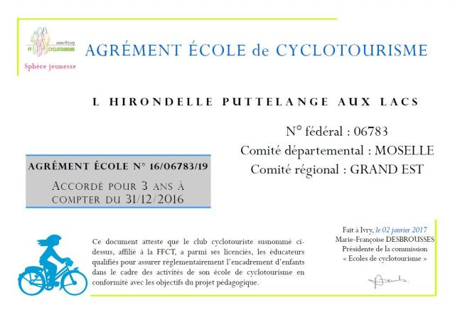 Agrement ecole cyclo 31 12 2016
